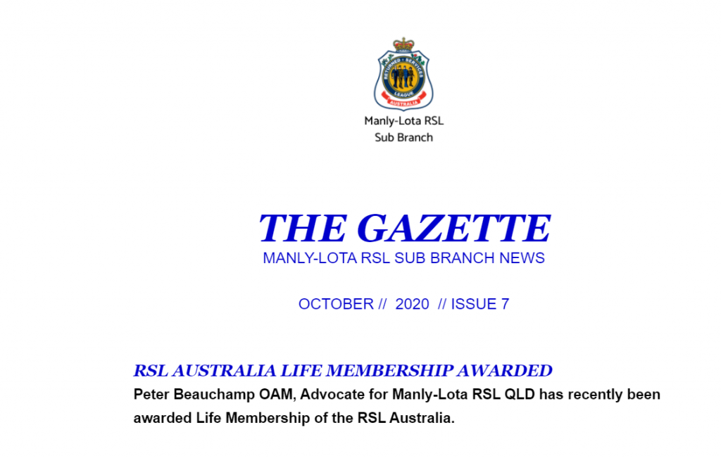 October Sub Branch Gazette